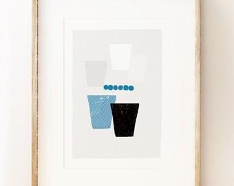 Beakers #2 - abstract kitchen wall art print