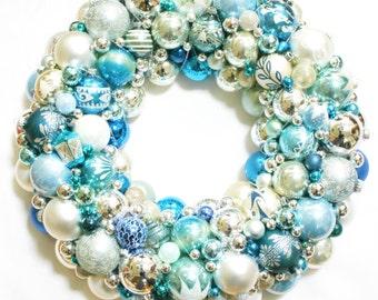 CUSTOM SOLD Vintage Ornament Christmas Wreath Holiday Santa Glass XLARGE blue silver