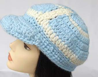Unique Newsboy Cap, Visor Hat, Crochet Newsboy Cap, Teen Cap, Blue and White Cap,  On Sale