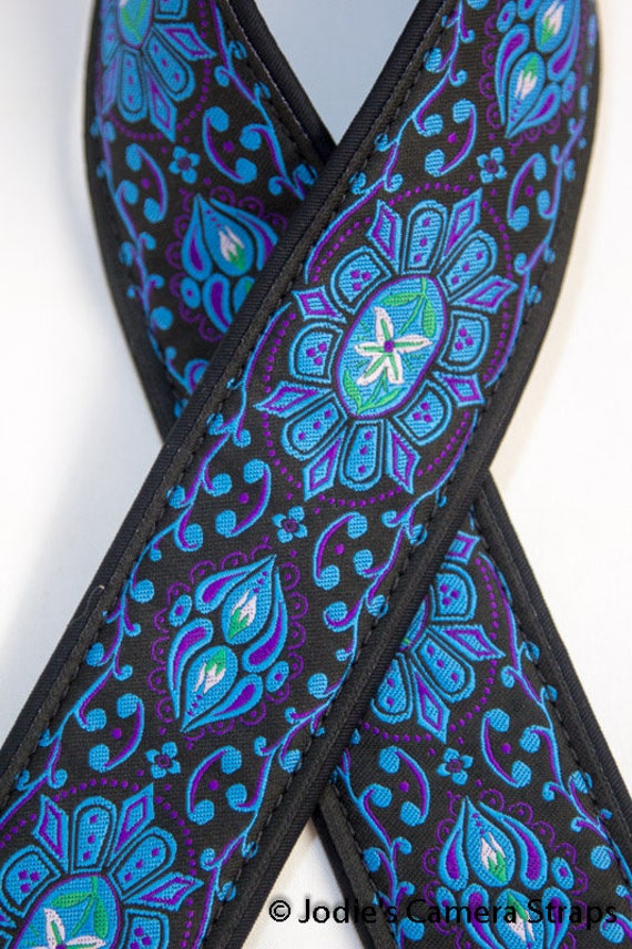 "Custom Padded Camera Strap 2"" Wide Flower Medallion Blue on Black"