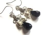 Mini Chandelier Earrings with Black Onyx, black onyx earrings, onyx chandeliers, small chandeliers, chandelier earrings, goth earrings
