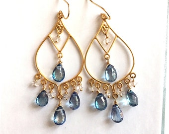 Blue Topaz and Herkimer Diamond Goddess Earrings- Gold