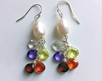 Baroque Rainbow pearl cluster dangle earrings, Walk this Way Dangles