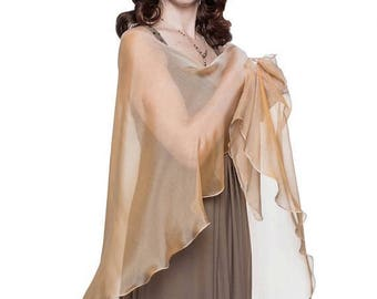 Promo Sale: 40% Off - Caramel - Cream Formal Sheer Silk Scarf - Wrap