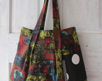 Handmade shoulder bag vintage fabric medieval themed tote with side pockets