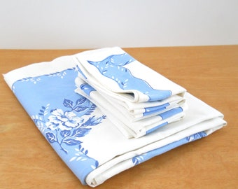 Vintage Tablecloth and Napkin Set • Mid Century Blue Floral Tablecloth • Matching Tablecloth and Napkins
