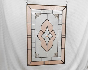 Vintage Look Stained Glass Window Panel, Neutral Peach & Beveled Glass Art, Traditional Stained Glass Transom Window, Unique Window Valance