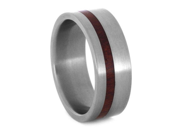 Wood Ring With An Offset Bloodwood Pinstripe, Titanium Wedding Band For Women and Men