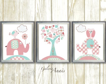 Elephant Nursery Art Baby Nursery Decor girl Turquoise pink nursery wall art Kids wall art tree owl Nursery Birds art Set of 3 Prints