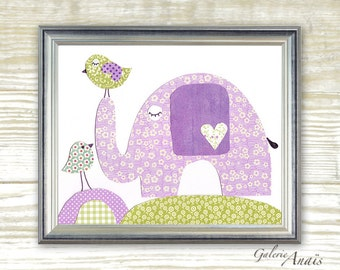 Elephant Nursery art Baby Girl Nursery Decor Purple nursery wall art kids wall art children's art Kids room decor - In Good Company print
