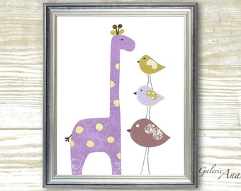 Nursery art print - nursery decor - baby nursery print - kids art - kids room decor -  Birds - Giraffe - Taller Than You print