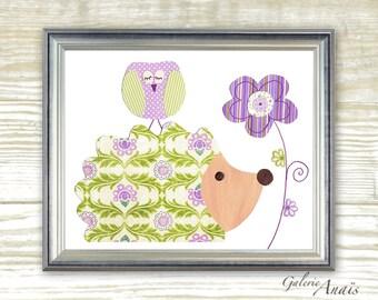 hedgehog nursery Baby Girl nursery decor Purple and green nursery art kids wall art nursery owl baby nurseyr art - Jolie Lady