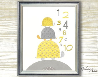 Kids wall art yellow and gray - baby nursery decor - nursery wall art turtle  animal - kids room decor - numbers - Going Places