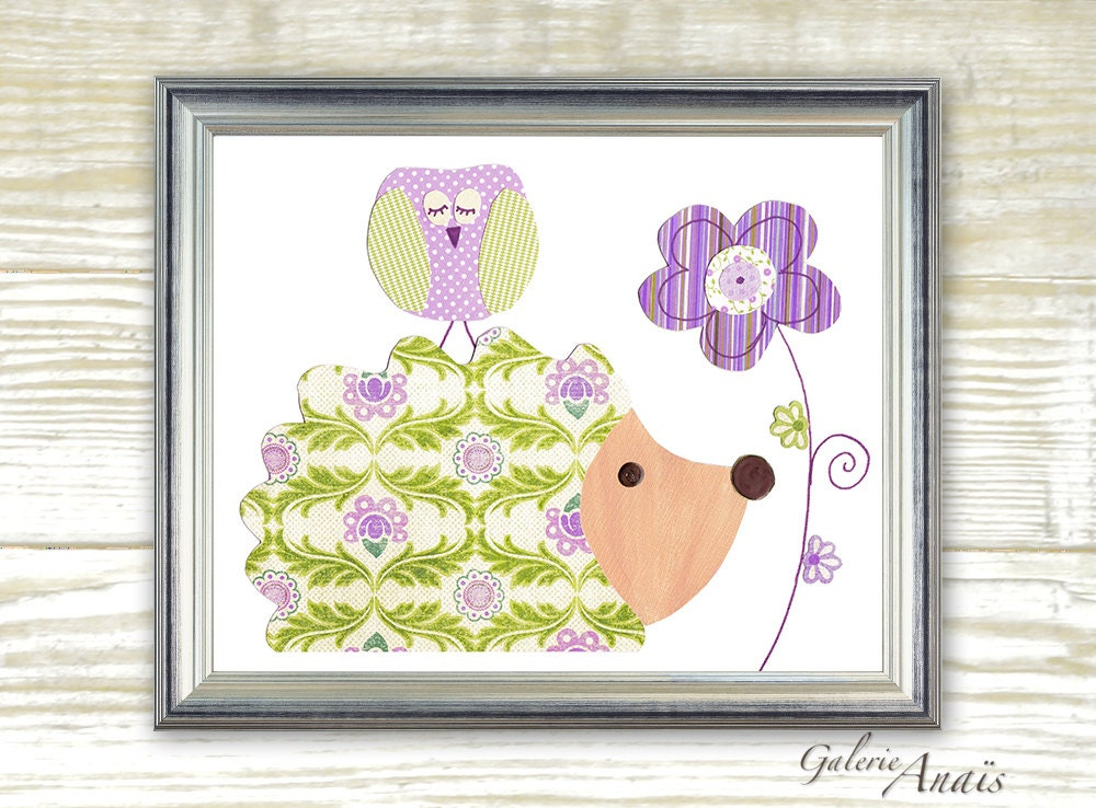 Hedgehog Nursery Baby Girl Nursery Decor Purple And Green