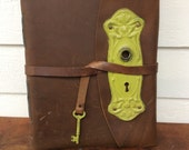 Massive leather sketchbook/journal with recycled sketch paper, lay flat binding and antique door plate and key