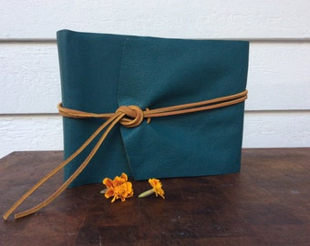 Turquoise Leather Photo Album /Holds 30 Photos / Perfect wedding gift /3rd anniversary