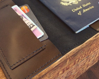 Simple Brown Leather passport cover with pocket for cash and cards