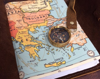 Traveler's notebook - leather travel journal with map and compass