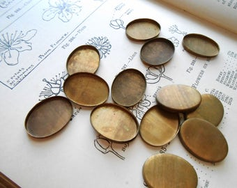 12 pc vintage oxidized brass oval settings bezel 16 x 21 mm - old new stock vintage jewelry supplies