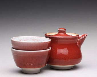 handmade porcelain tea set, ceramic teapot and cups, handmade shiboridashi with bright red and white glazes
