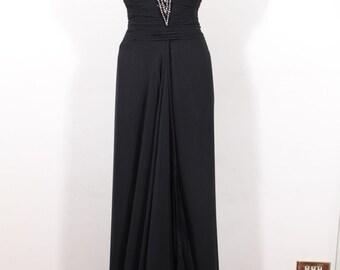 ALBA ROMA Italian VINTAGE Black Silk bustier coloumn gown maxi evening dress