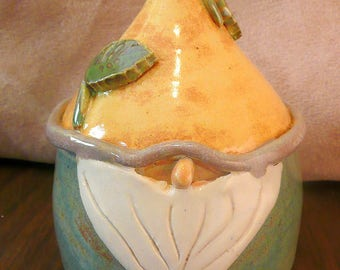 Handmade Ceramic Woodland Gnome with base, garden sculpture, pottery elf, woodland decor