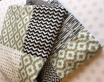 One of a Kind Baby Blanket in Bright Designer Fabrics