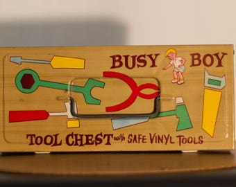 Busy Boy Tool Chest with Vinyl Tools in Perfect Pristine Condition The Worlds Best Toys
