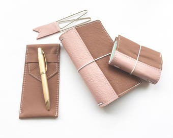 Travelers Notebook - Brown with Pink Reinforced Binding - Genuine Leather - 5 Sizes