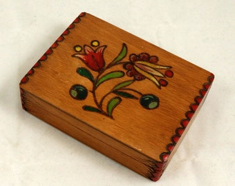 Vintage Hand Carved Wooden Box, Hand Painted Box, Card Box with Hinged Lid, Jewelry Box, Trinket Box, Hinged Box, Cigarette Box, Small Box
