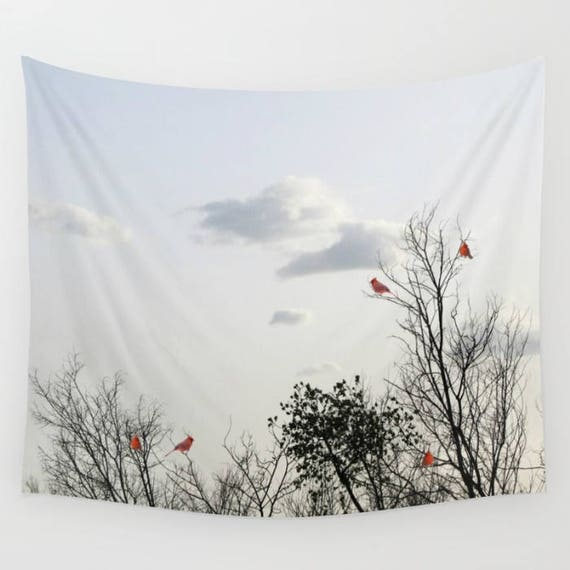 Red Cardinals Trees Wall Tapestry, Cloudy Sky Tapestry, Trees Home Decor, Nature Tapestry, Home Decor, Whimsical, Tree Branches, Woodland