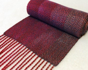 Handwoven Tencel Scarf, Tencel Scarf, Woven Scarf, Handwoven Scarf, Fuchsia Scarf, Red Purple Scarf  (#17-01 Dk Teal weft)