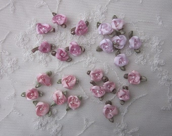 24 pc MAUVE PINK LILAC Satin Ribbon Fabric Flower Pearl Beaded Rose Bud Applique Shabby Chic Doll Baby Bow