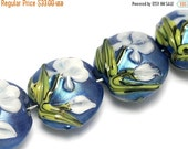 ON SALE 50% OFF Four Wedgewood Lentil Beads -10412412 -Handmade Grace Lampwork Bead sets