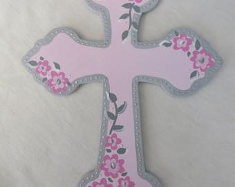 hand painted personalized wood cross communion baptism religous pink and lt grey... SALE... will personalize