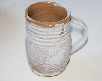 White  Oversized Mug Stein  in Stoneware Holds Over One and One Half Cups   Carved Surface One of a Kind