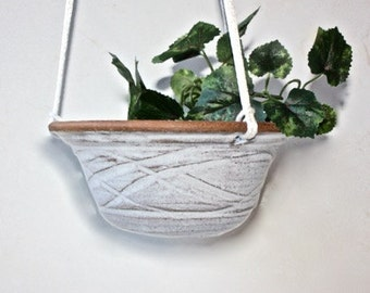 "Ceramic  Hanging Planter Carved Glazed Stoneware 7"" Diameter  Air Plant Platform or Succulent Planter Mat  White OAAK"