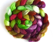 Falkland Wool Roving - Hand Dyed Spinning or Felting Fiber Fiber, Beets and Chards, 4 ounces