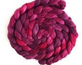 Polwarth/Silk Roving - Handpainted Spinning or Felting Fiber, Dark Sweet Cherries