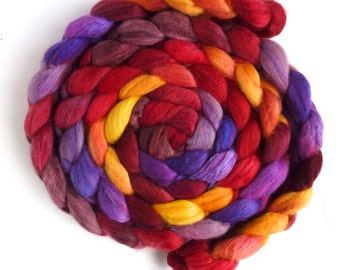 Organic Polwarth/Cultivated Silk Roving - Handpainted Spinning or Felting Fiber, Sky Fire