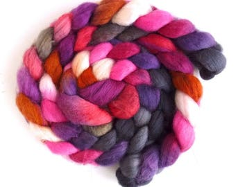 Superwash BFL Wool Roving - Hand Painted Spinning or Felting Fiber, Candy Hearts