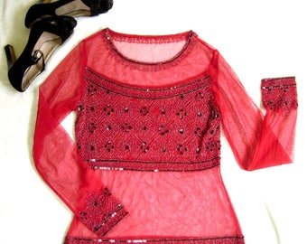 1990s 90s SHEER MESH Red Beaded & Sequined Blouse Top Size Small S