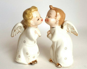 Pair of Vintage White Kissing Angel Christmas Salt and Pepper Figurines