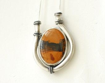 Sahara Jasper Necklace, Whiskey Moon Pendant, Silver Stone Jewelry