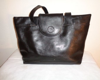 American Legion USA  roomy  tote , top zip satchel, bag, hobo,  thick soft full grain leather jet black vintage 1980 pristine condition
