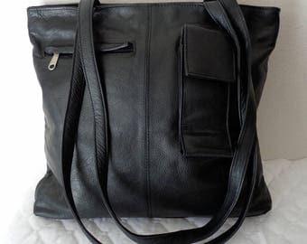 Colombian thick leather  slim business tote , top zip bag, bag, hobo, satchel, shoulder bag in  jet black vintage pristine condition