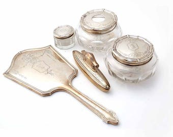 1900s Art Nouveau 8 Piece Vanity Set HALLMARK STERLING NY Silver Etched Flower Garland Hair Receiver Powder Cream Jars Hand Mirror Nail Care