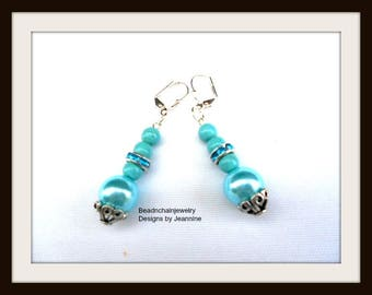 Aqua Blue Pearl Earrings, Chalk Turquoise, Blue Rhinestone, Silver Sparkle, Ladies Dressy Earrings, All Occasion Gift, OOAK, Free Ship USA