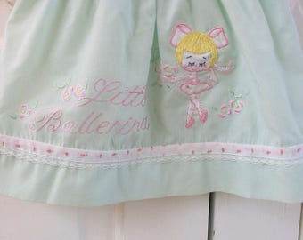 Vintage Ballerina Girl Dress, Vintage Easter Dress, Baby Dress, Infant Dress, Mint Green Baby Dress, Dancer Dress, 3 Month Dress, 6 Months