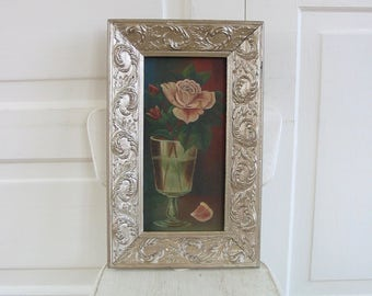 Vintage Rose Oil Painting, Art Rose Painting, Floral Canvas Art, Shabby Cottage Chic Art Painting, Pink Rose Painting on Canvas